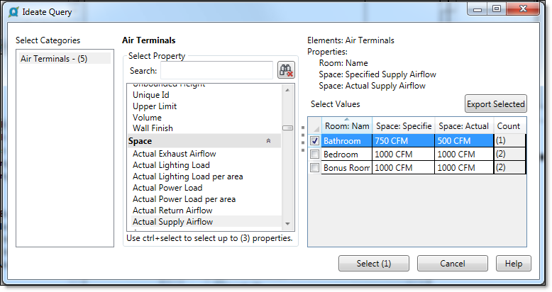 Ideate Query selecting air terminals
