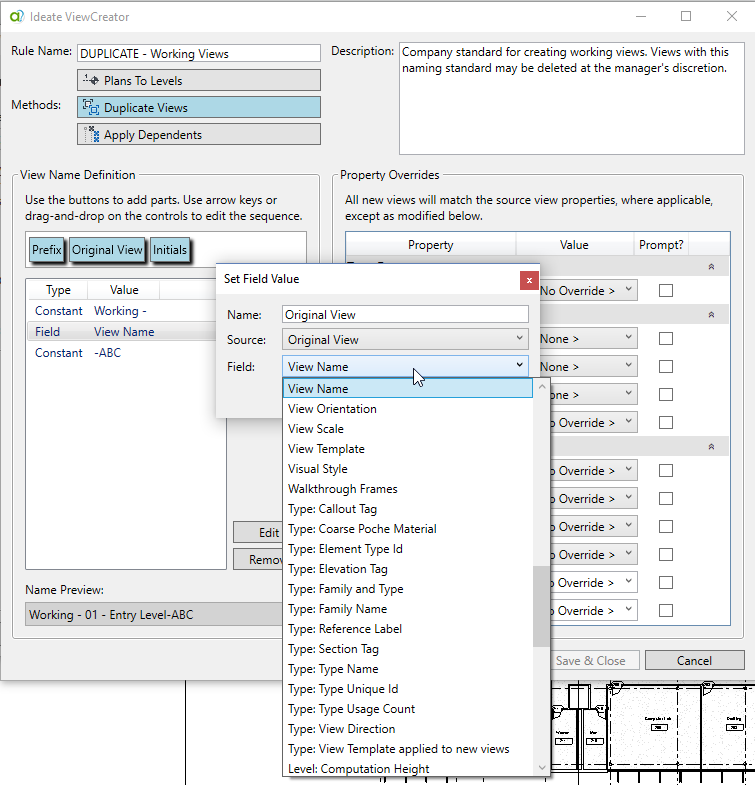 View Name Definition in Ideate ViewCreator for Revit