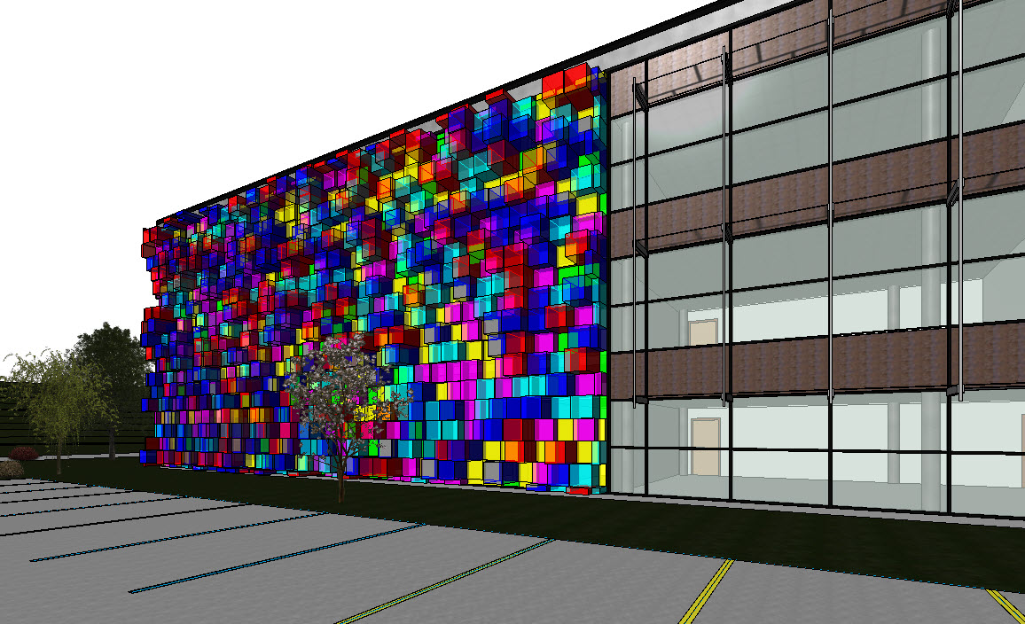 Curtain wall panel - In This Example We Will Be Using Ideate Bimlink To Manipulate Over 700 Curtain Wall Panels To Create Some Colorful Glass Boxes With A Variety Of Block