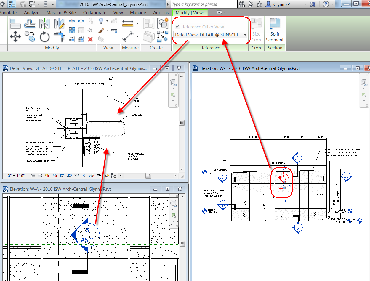 how to make a split section in revit