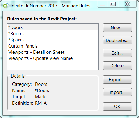 Saving Rules in Ideate ReNumber
