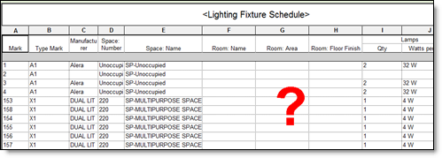 Lighting Fixture Schedule without Room Data