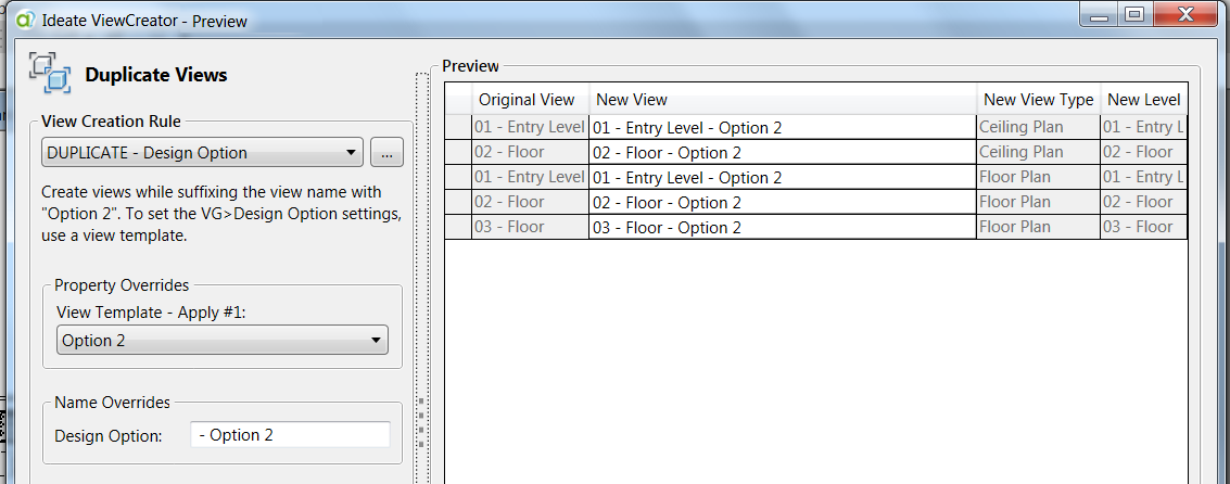 Duplicating Views in Ideate ViewCreator - Revit Productivity Tool