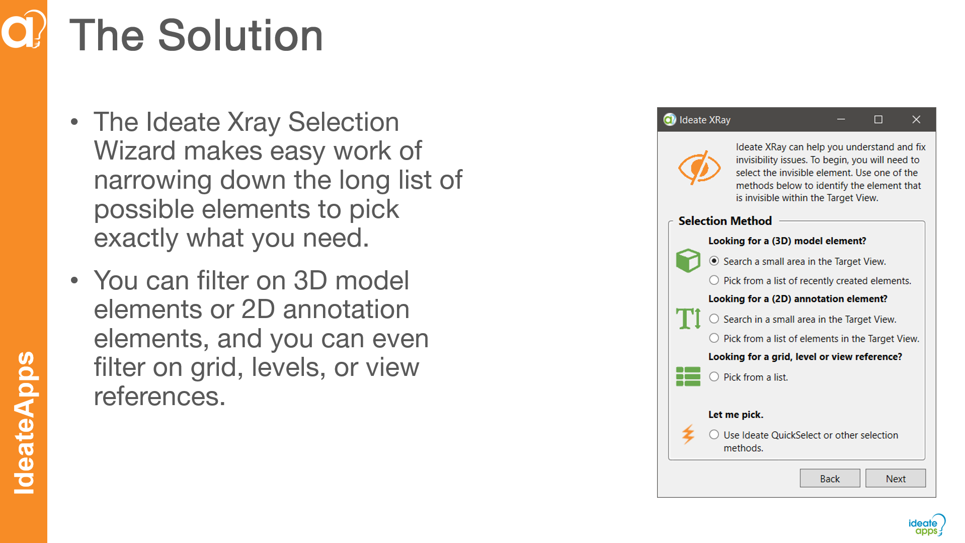 Ideate XRay Selection Wizard